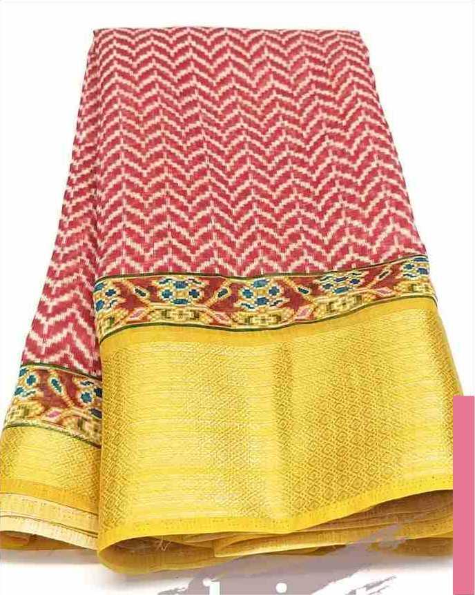 Digital Patola Red Yellow Saree