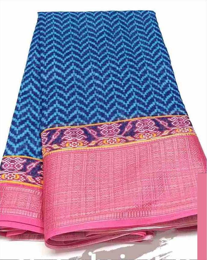 Digital Patola Blue Pink Saree