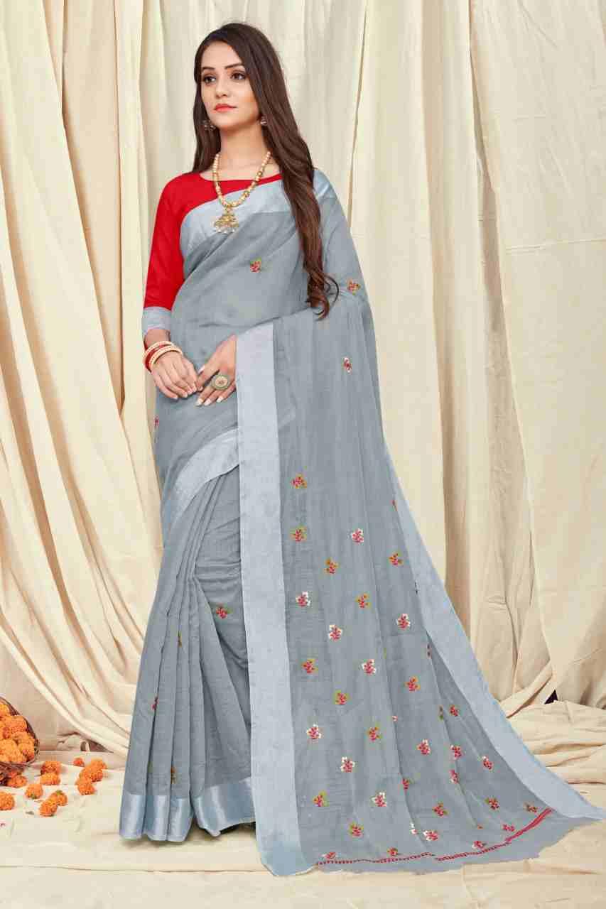 Ajrakh-4 Gray Chanderi Saree