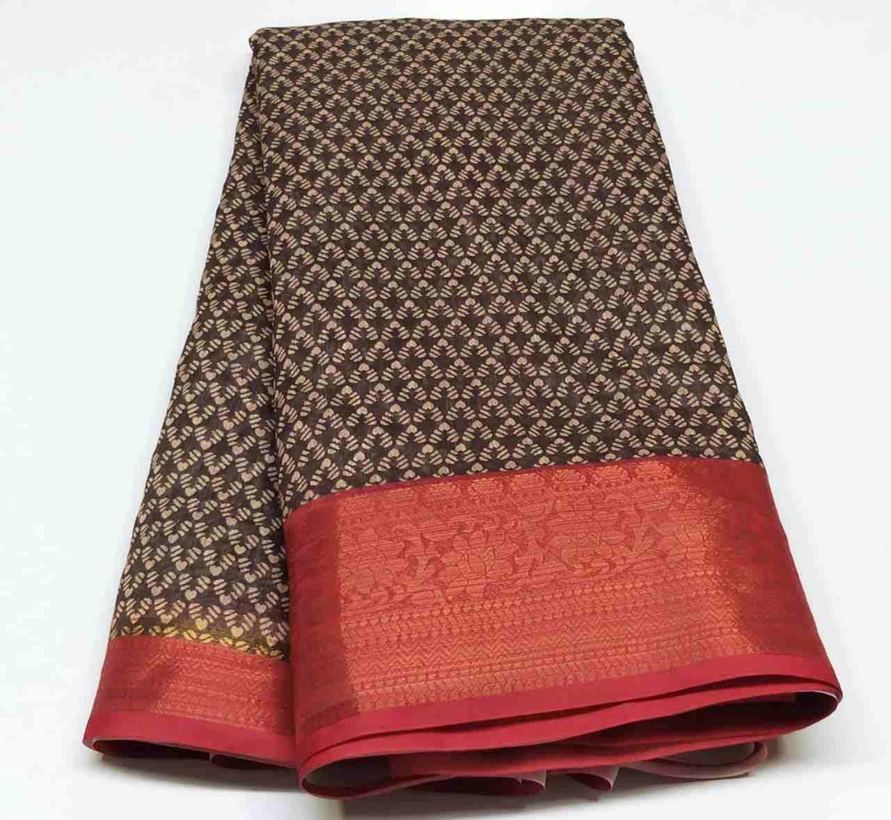 Rambha-2 Red Brown Cotton Saree