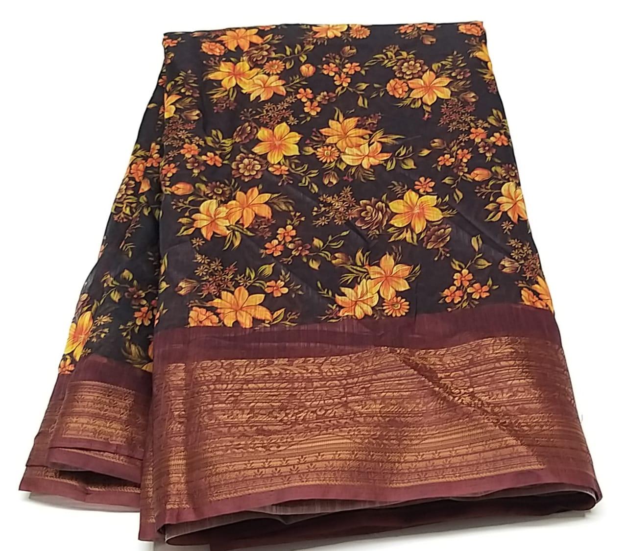 Rambha-1 Brown Cotton Saree
