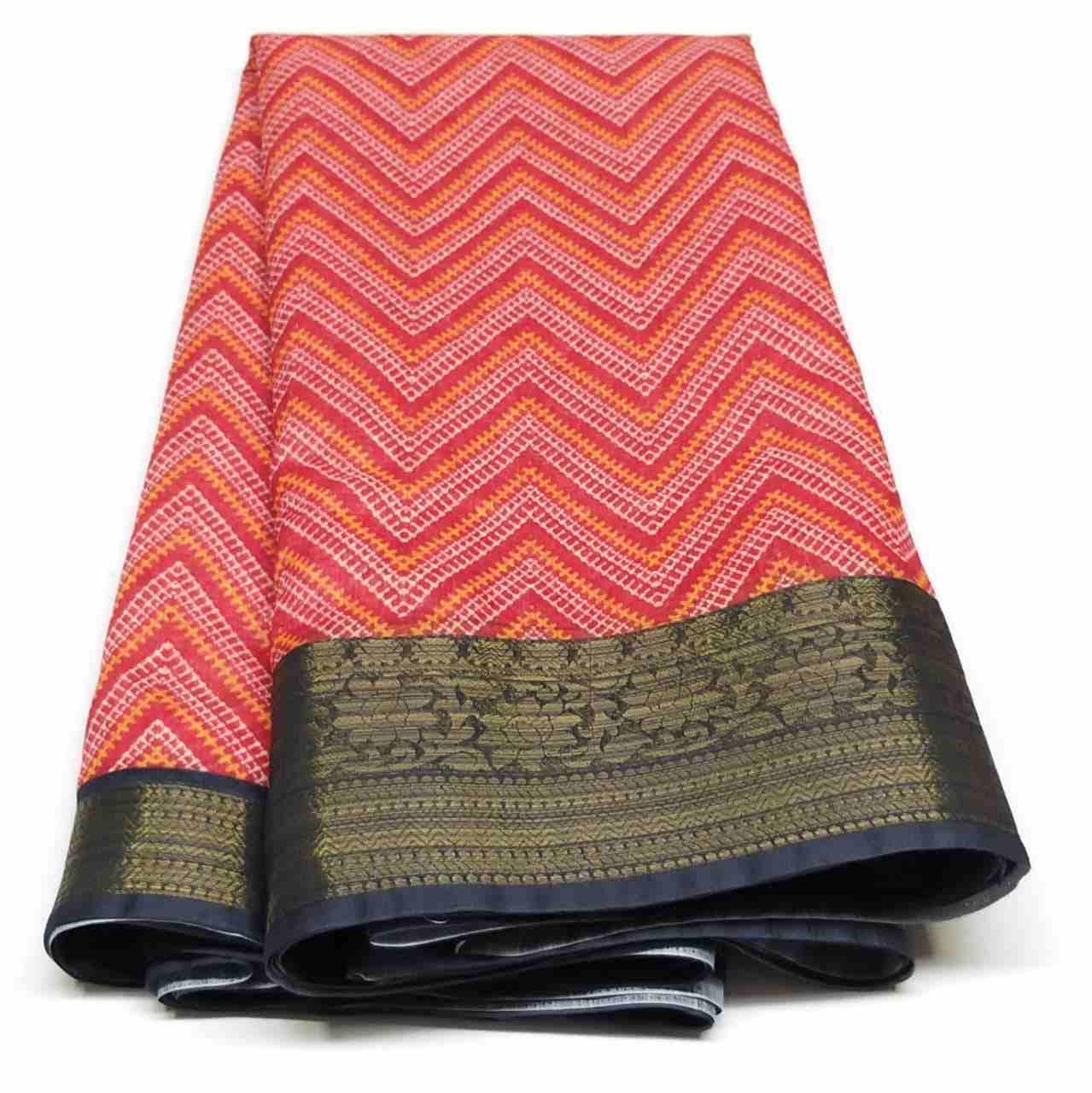 Rambha-2 Red Dark Blue Cotton Saree