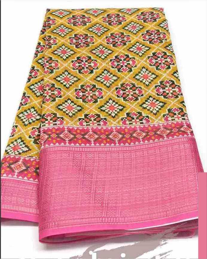 Digital Patola Pink Yellow Saree