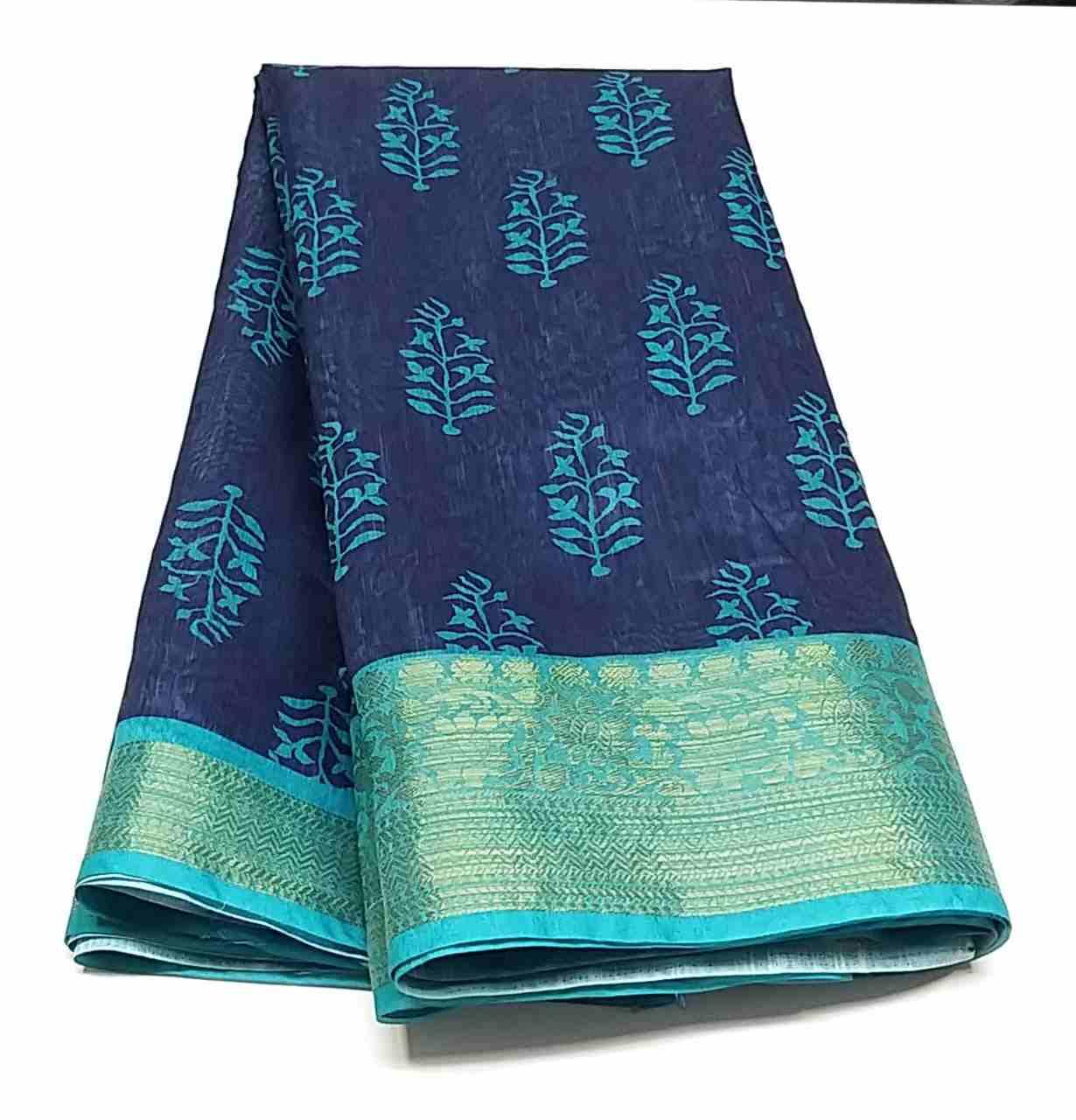 Rambha-2 Blue Cyan Cotton Saree