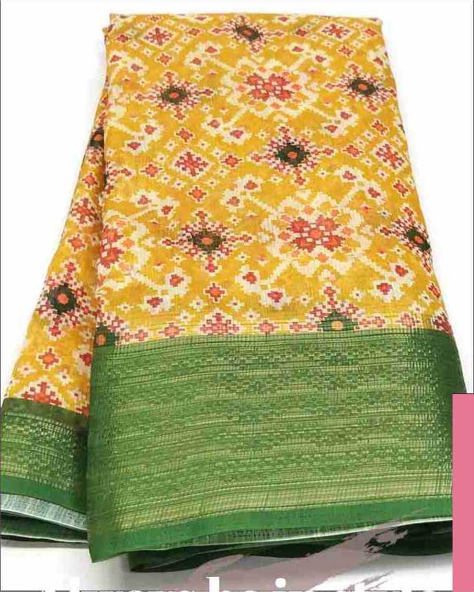 Digital Patola Green Yellow Saree