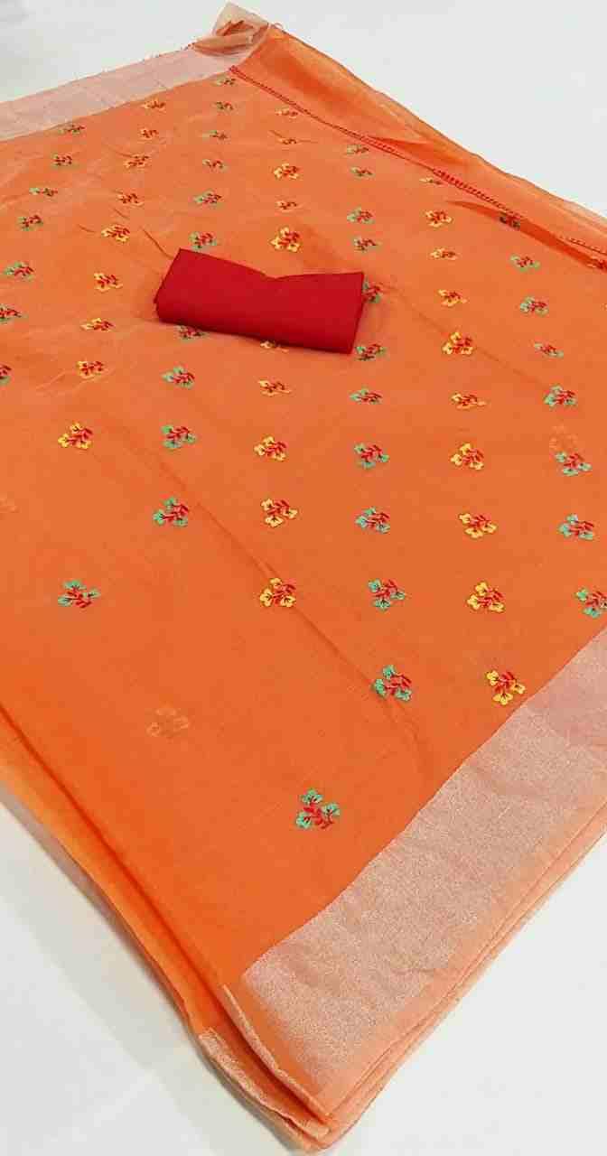 Ajrakh-4 Orange Chanderi Saree