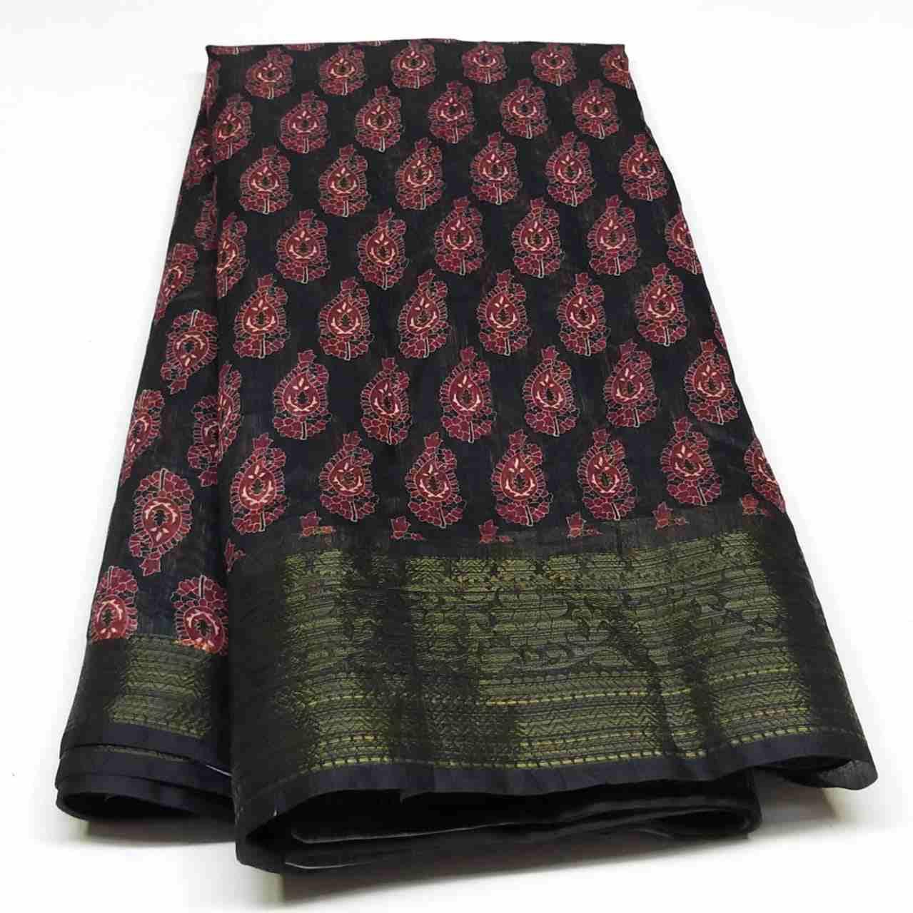 Rambha-2 Black Printed Cotton Saree