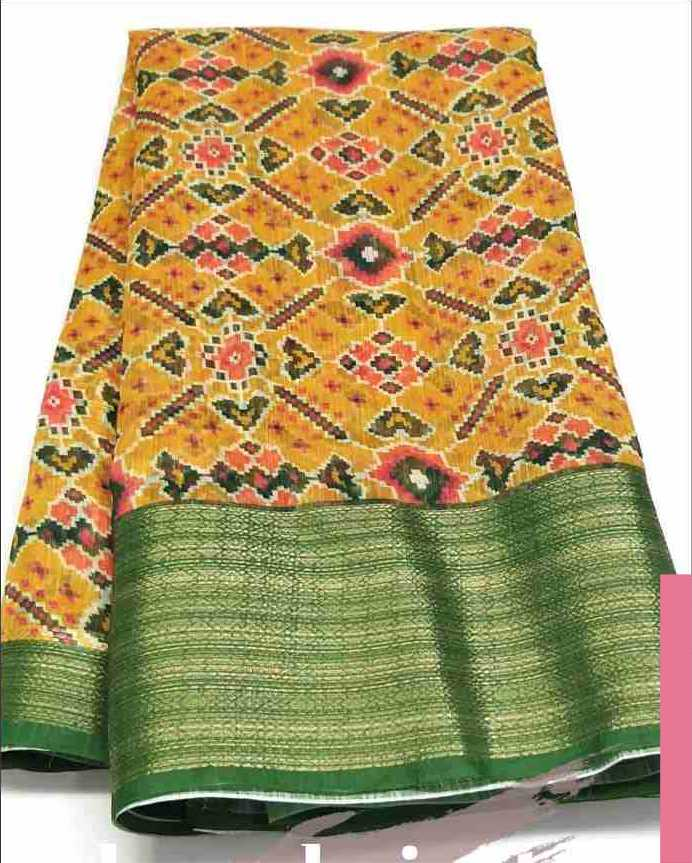 Digital Patola Yellow Green Saree