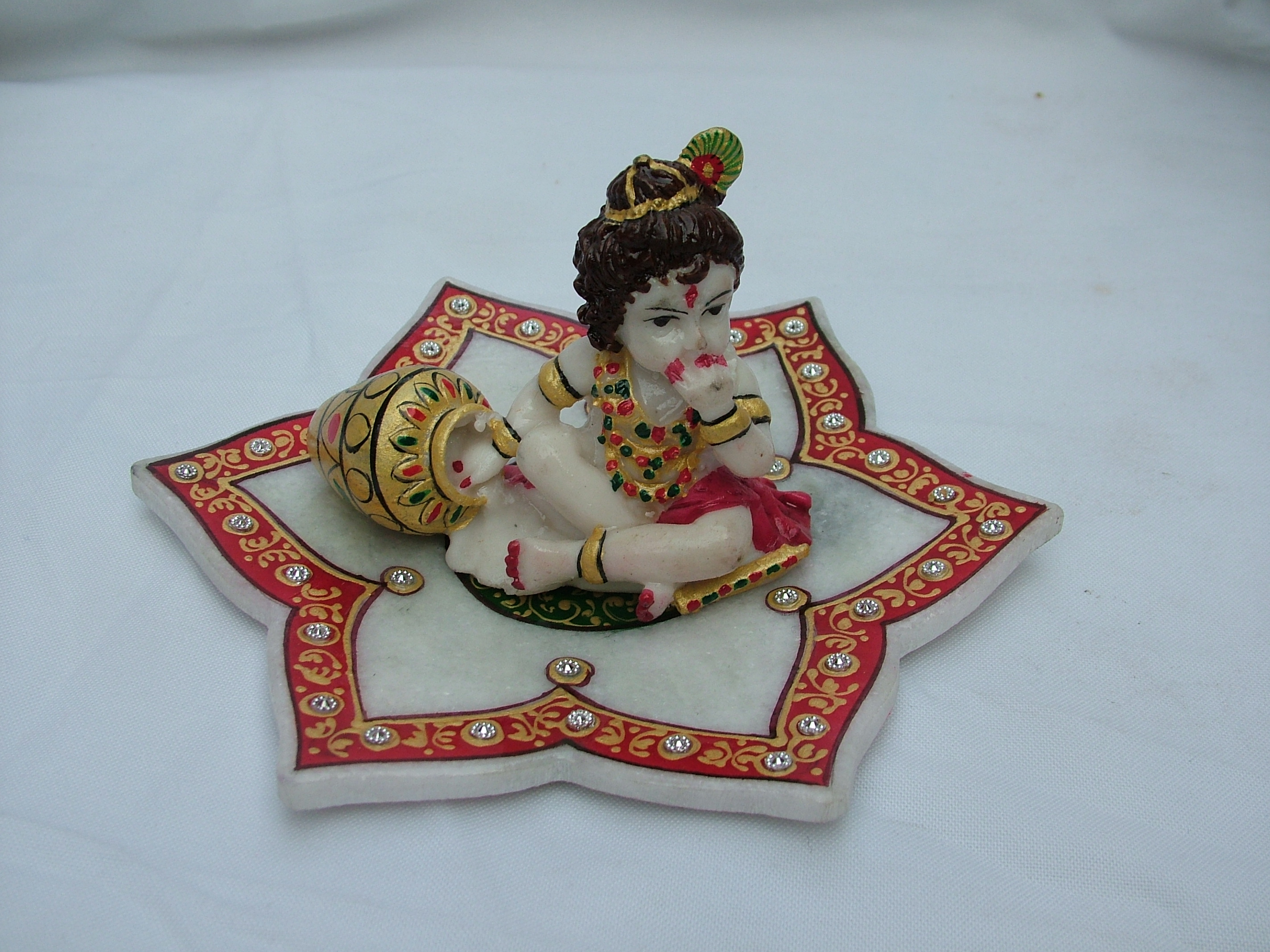 MARBLE LEAF WITH LADU GOPAL