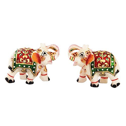 GOLD EMBOSSED ELPHANT WITH RED AND GREEN COMBINATION HANDPAINITNG  WORK