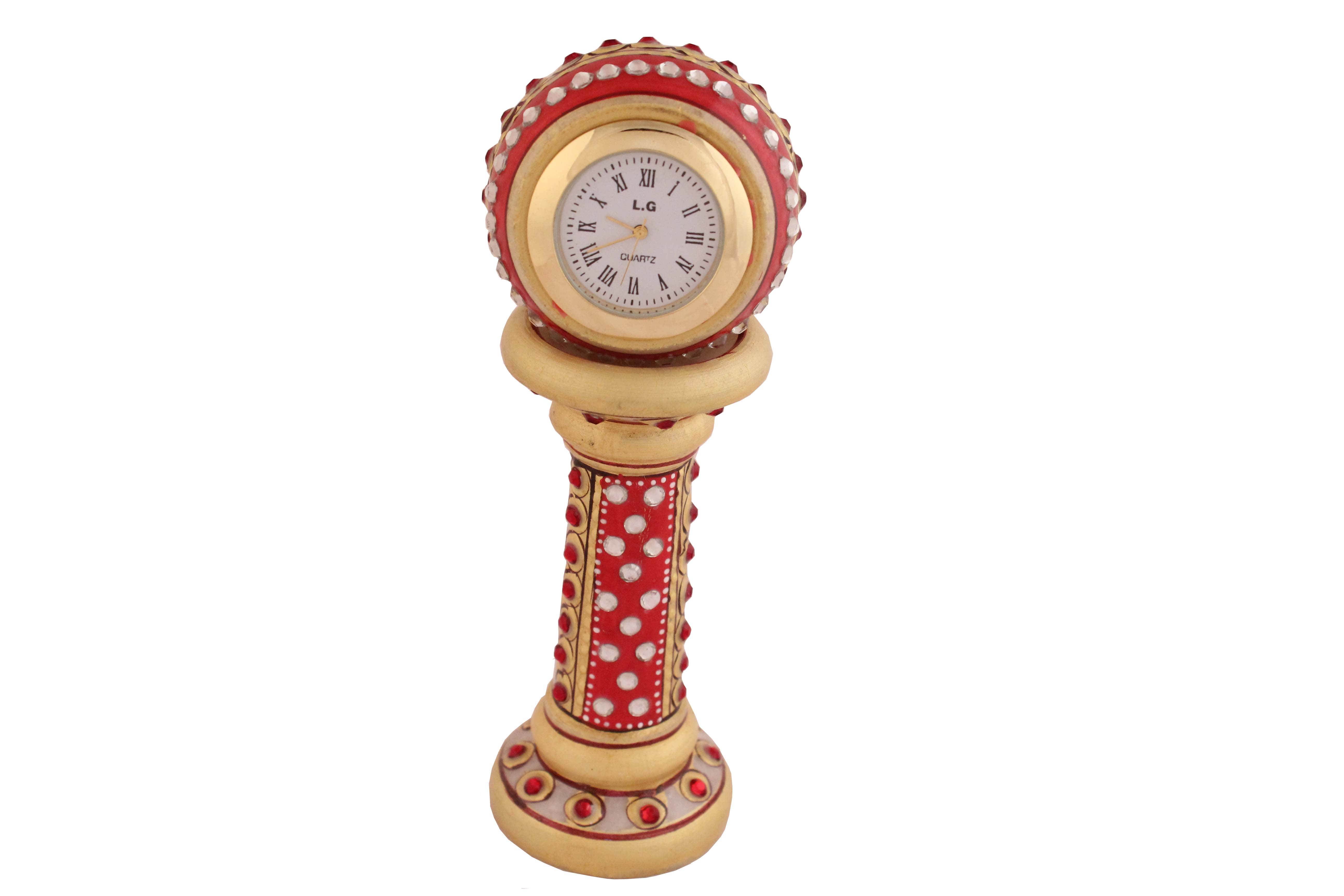 MARBLE PILLAER CLOCK ON HAND EMBOSS PAINTING