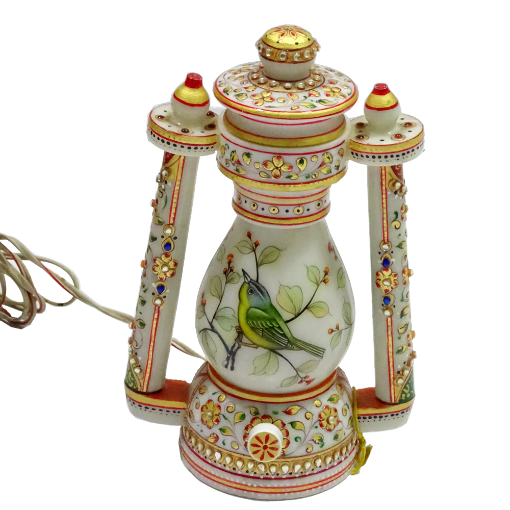 Marble Carved Laltern With Colorful Meenakari Painting