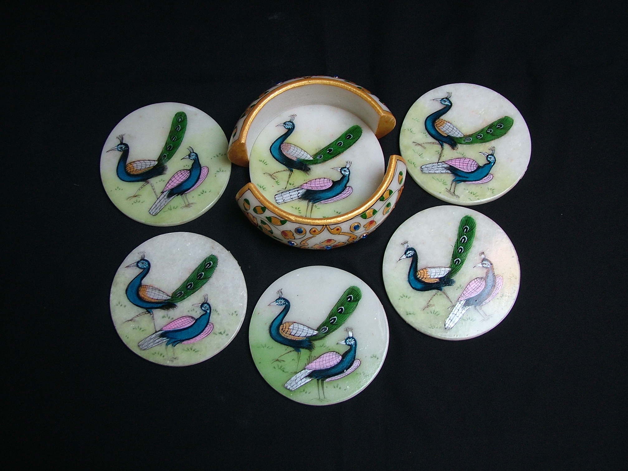 Marble Decorative Peacock Teacoaster Set
