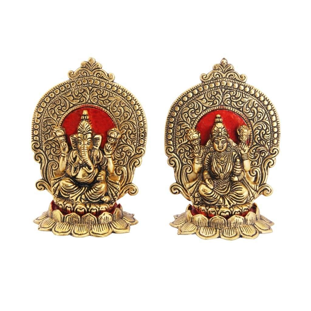 Metal Gold Polish Laxmi Ganesh With Singhasan