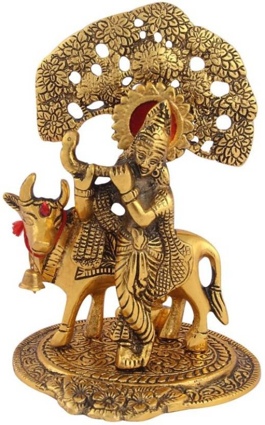 Metal Krishna Statue With Cow