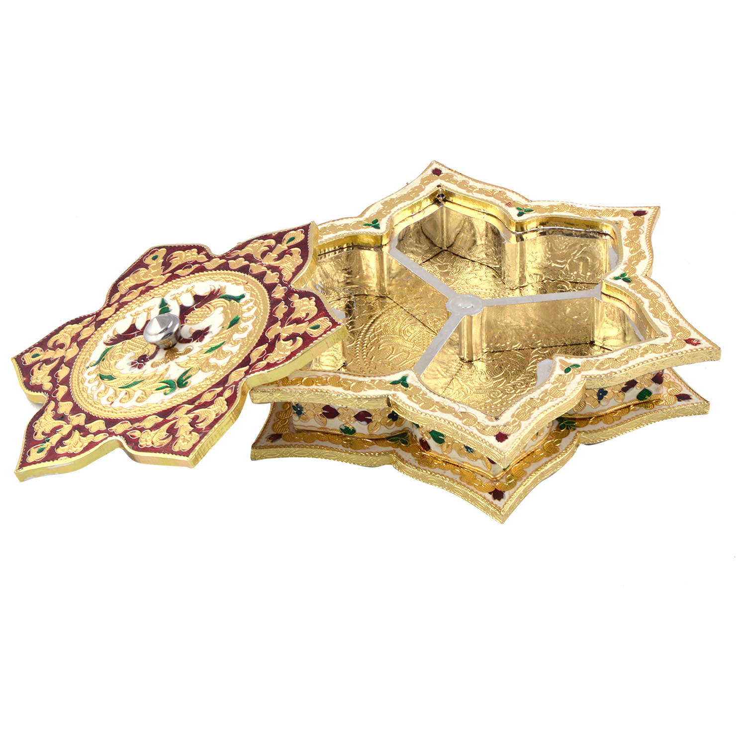 JK Handicraft Star Shaped Golden White Meena Dry Fruit/ Multipurpose Box  (25cmX25cmX5cm)