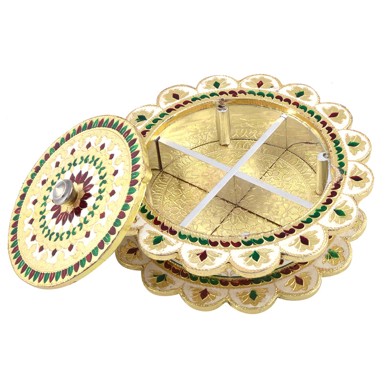 JK Handicraft Flower Shaped Golden White Meena Dry Fruit/ Multipurpose Box  (20cmX20cmX4cm)