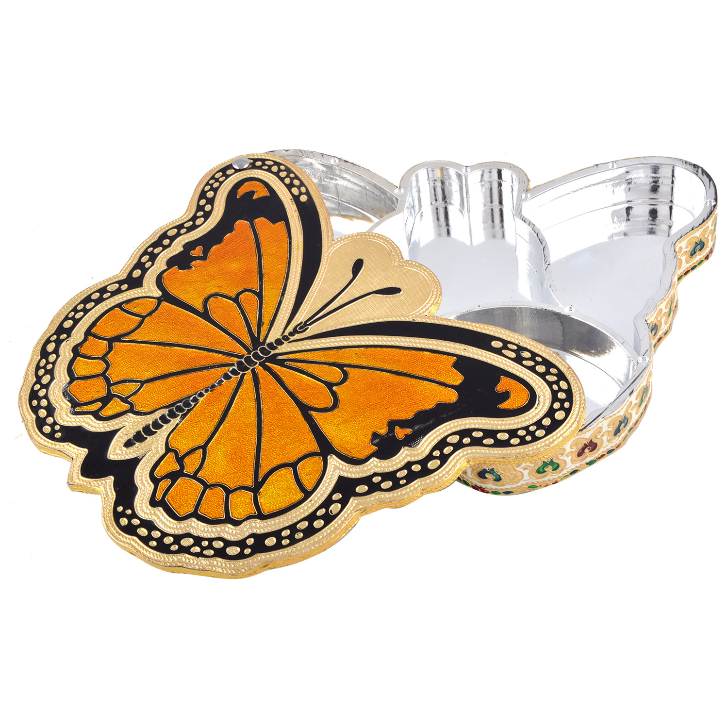 JK Handicraft Butterfly Shaped Golden Meena Dry Fruit/ Multipurpose Box  (21cmX29cmX4cm)