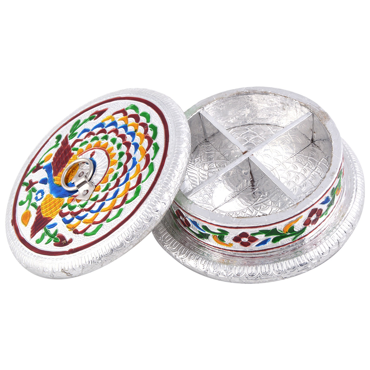 JK Handicraft Round Mor Silver Meena Dry Fruit/ Multipurpose Box  (14cmX14cmX5cm)