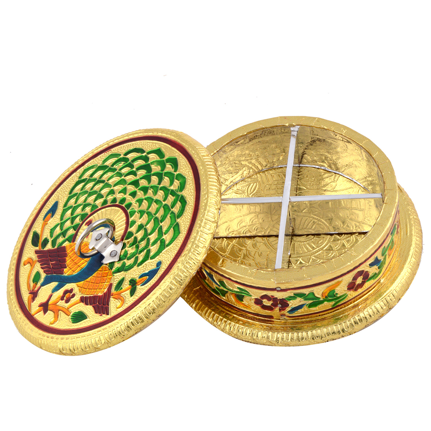 JK Handicraft Round Mor Golden Meena Dry Fruit/ Multipurpose Box  (14cmX14cmX5cm)