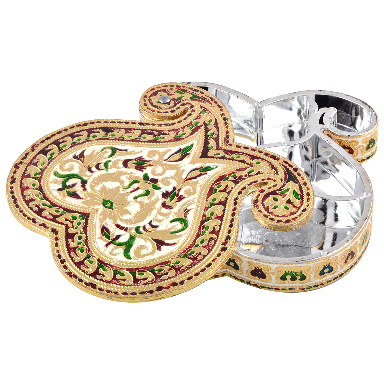 JK Handicraft Double Mango Shaped Golden White Meena Dry Fruit/ Multipurpose Box  (20cmX20cmX4cm)