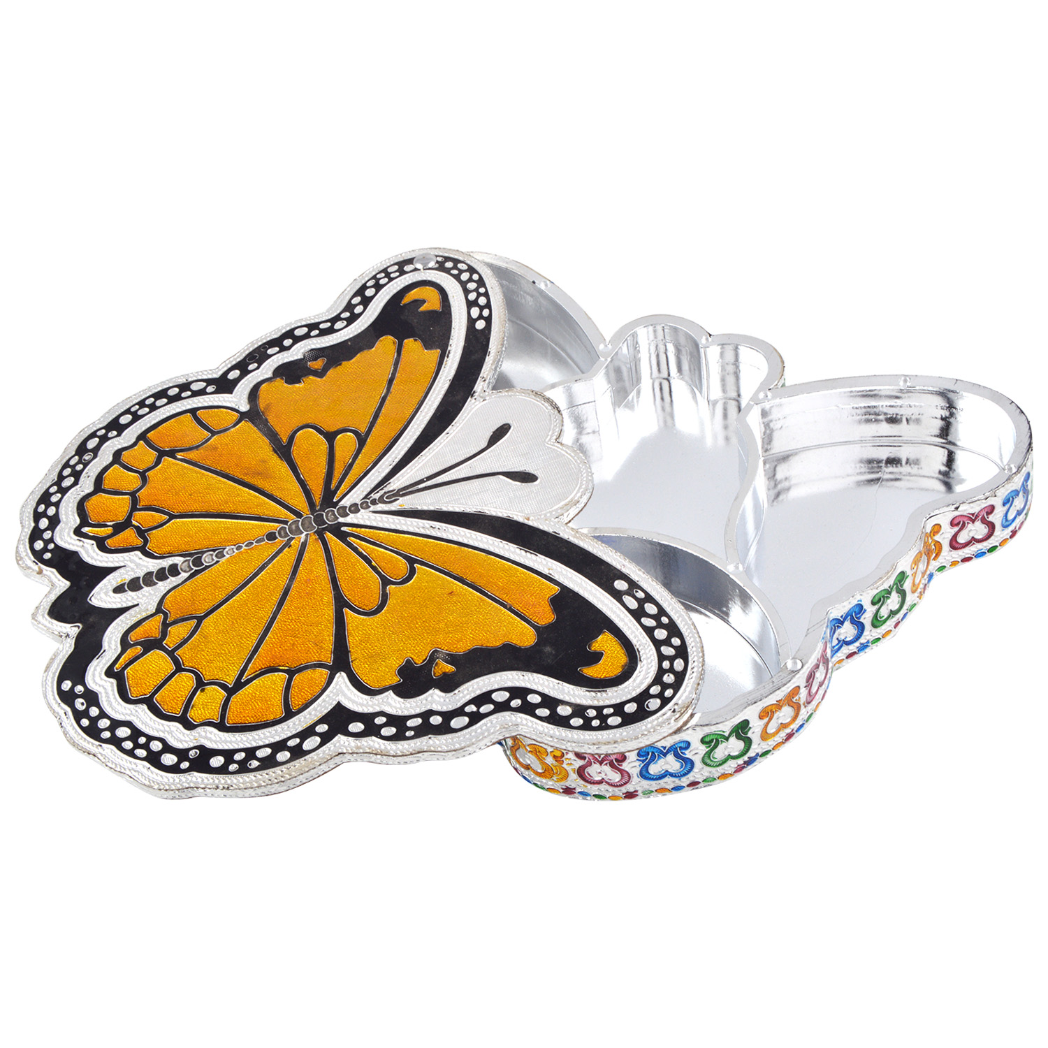 JK Handicraft Butterfly Shaped Silver Meena Dry Fruit/ Multipurpose Box  (21cmX29cmX4cm)