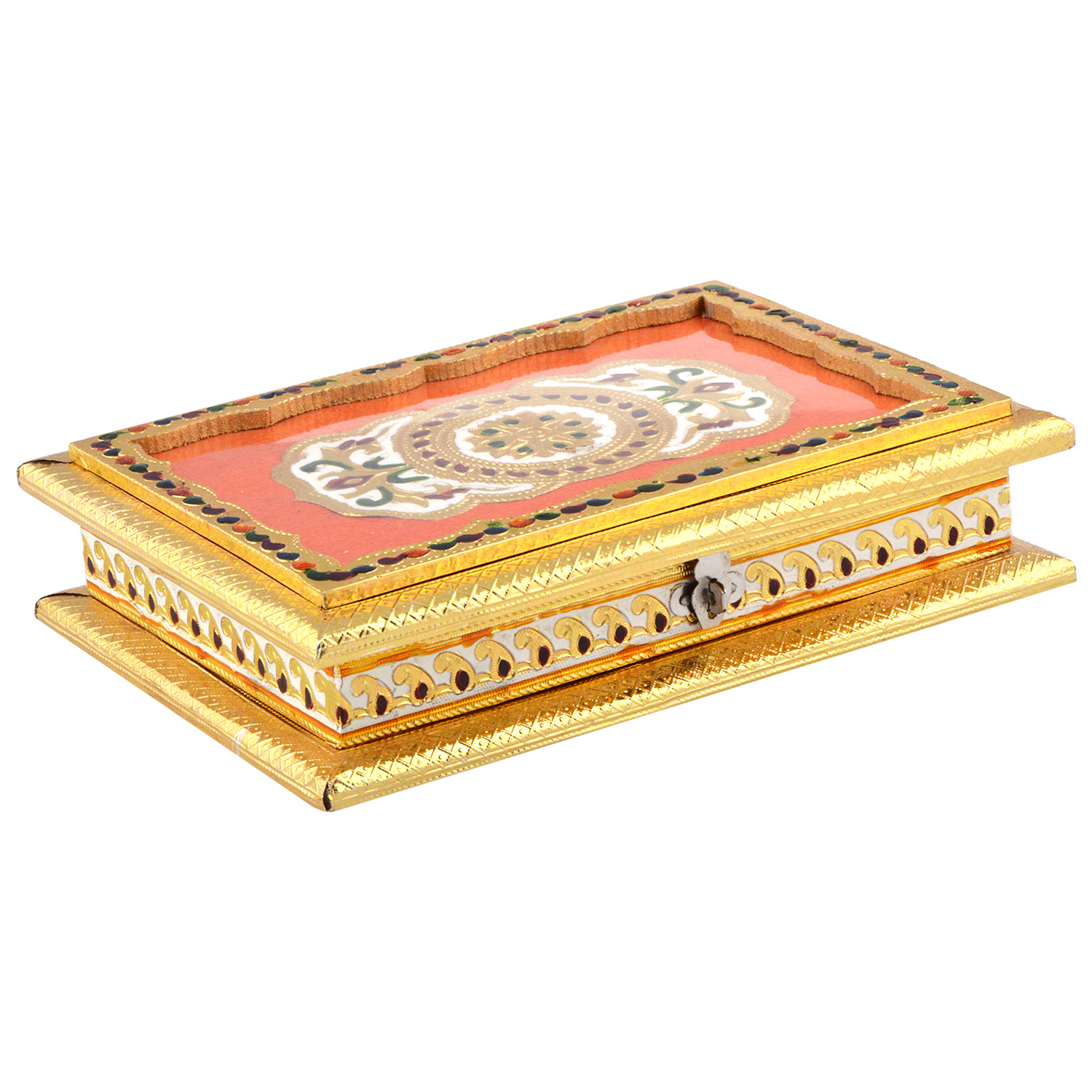 JK Handicraft 10x7 Golden Meena Dry Fruit/ Multipurpose Box  (18cmX25cmX6cm)