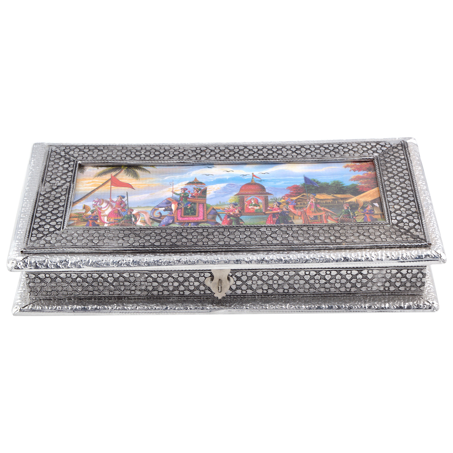 JK Handicraft 13x7 Oxidised Dry Fruit/ Multipurpose Box  (18cmX33cmX6cm)