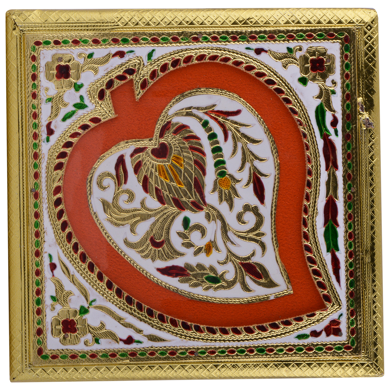 JK Handicraft 9x9 Golden White Meena Dry Fruit/ Multipurpose Box  (23cmX23cmX6cm)