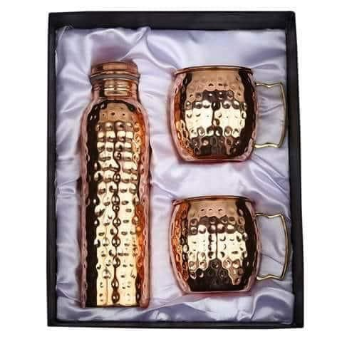 Jaipurikala Copper  Water Bottel With Mug