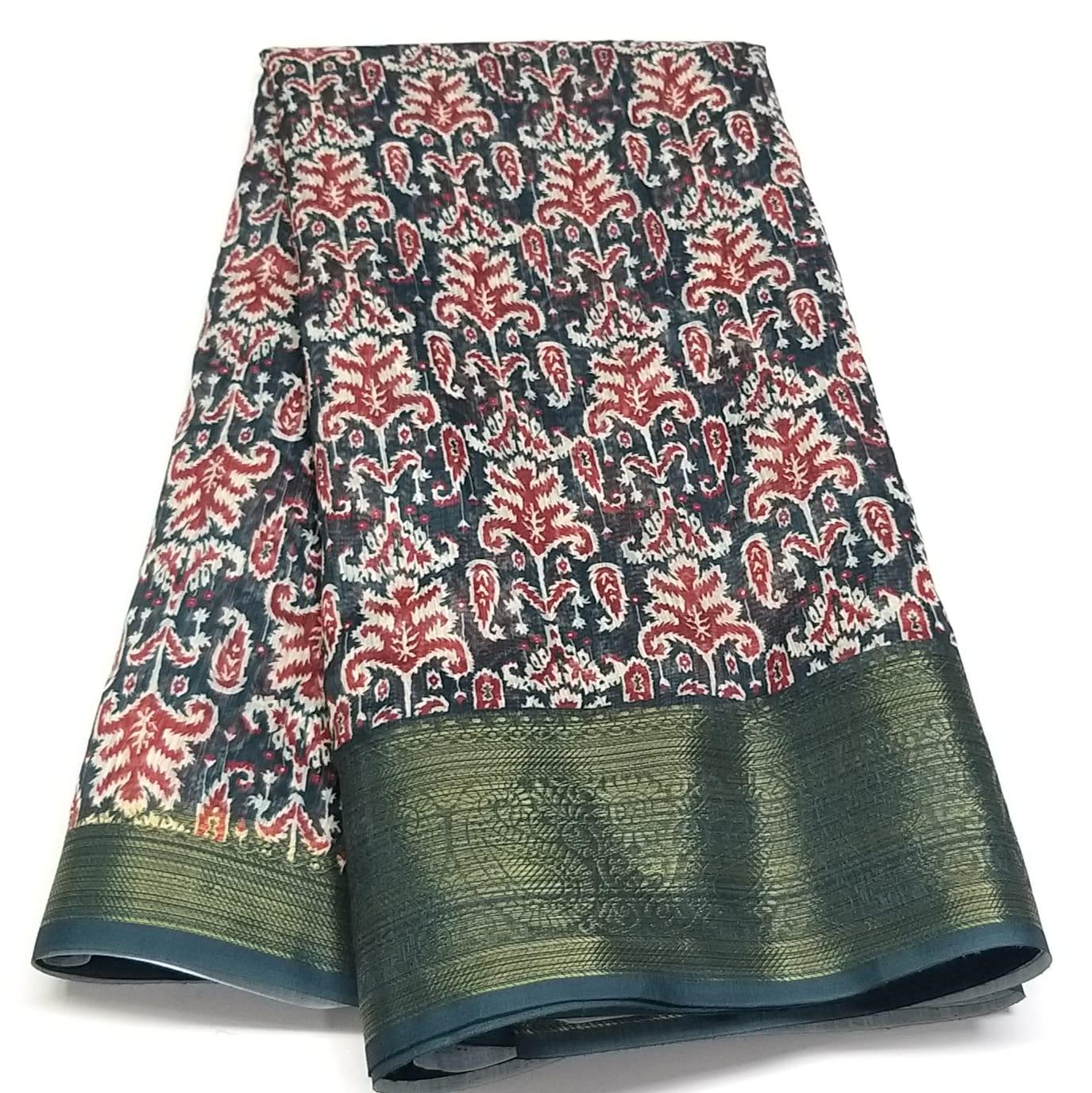 Rambha-1 Dark Black Cotton Saree