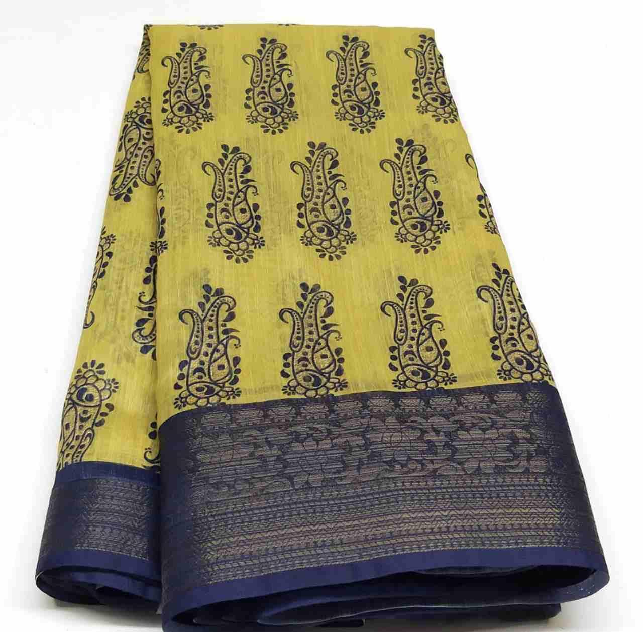 Rambha-2 Yellow Blue Cotton Saree