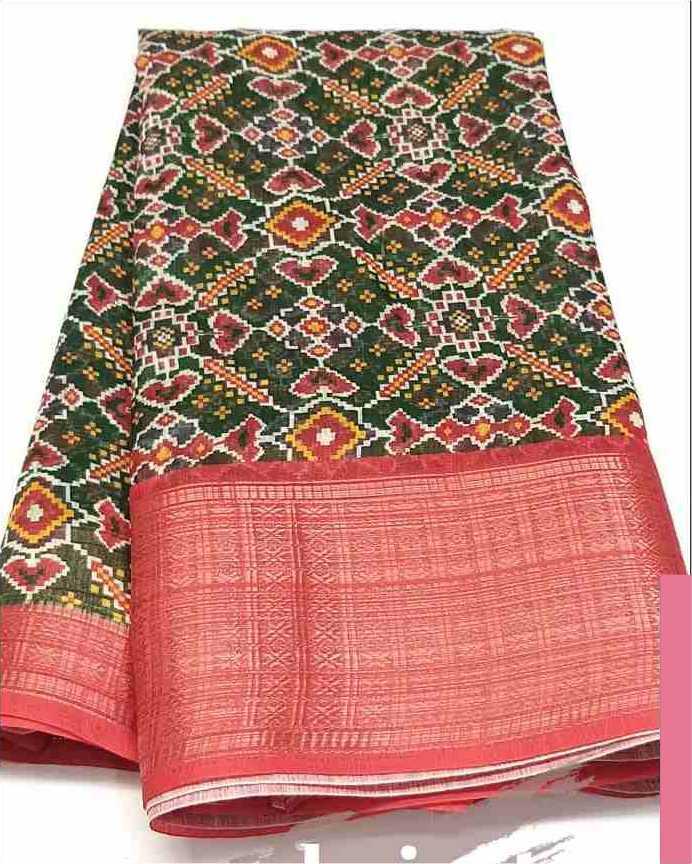 Digital Patola Green Pink Saree