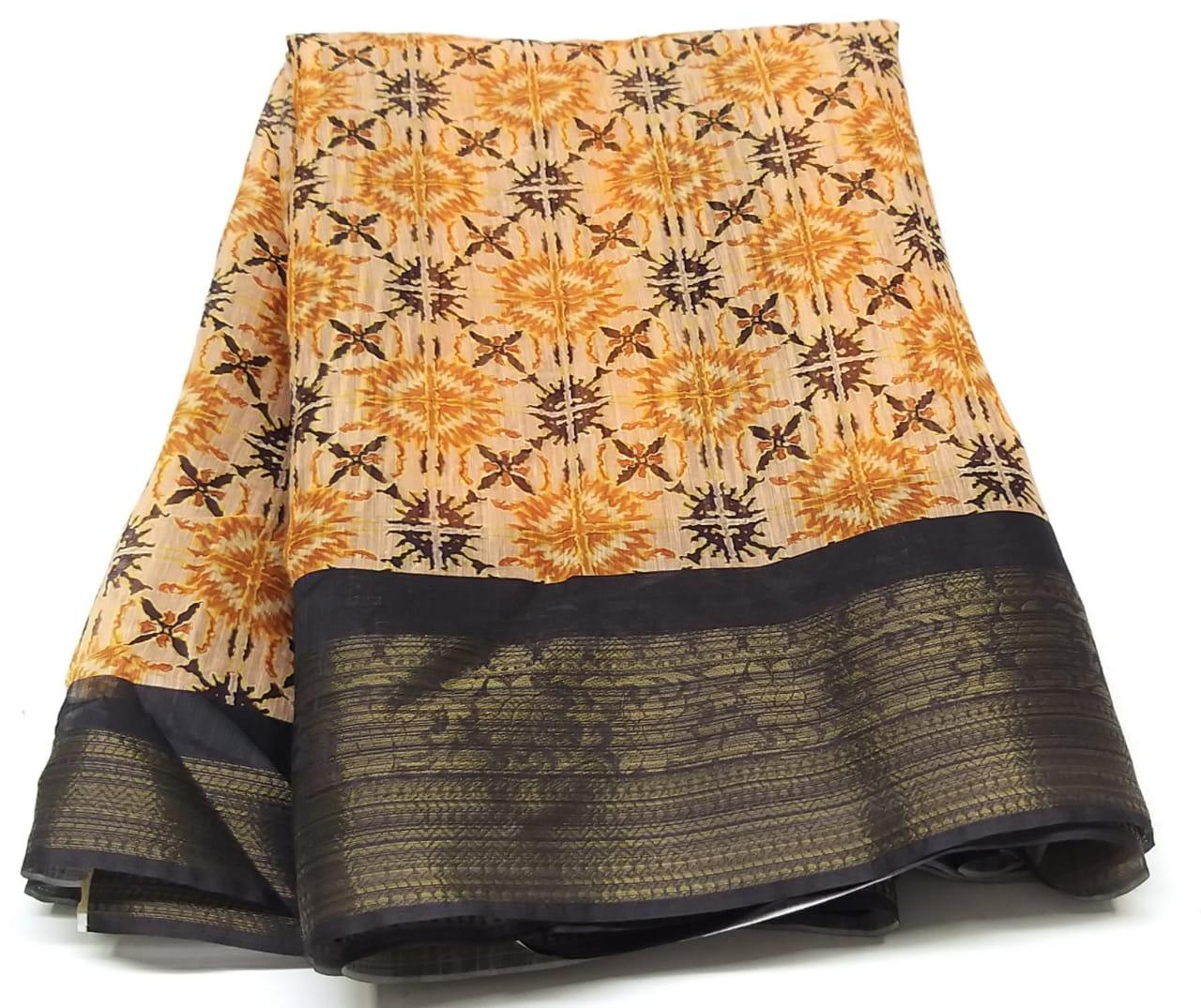Rambha-1 Light Yellow Cotton Saree