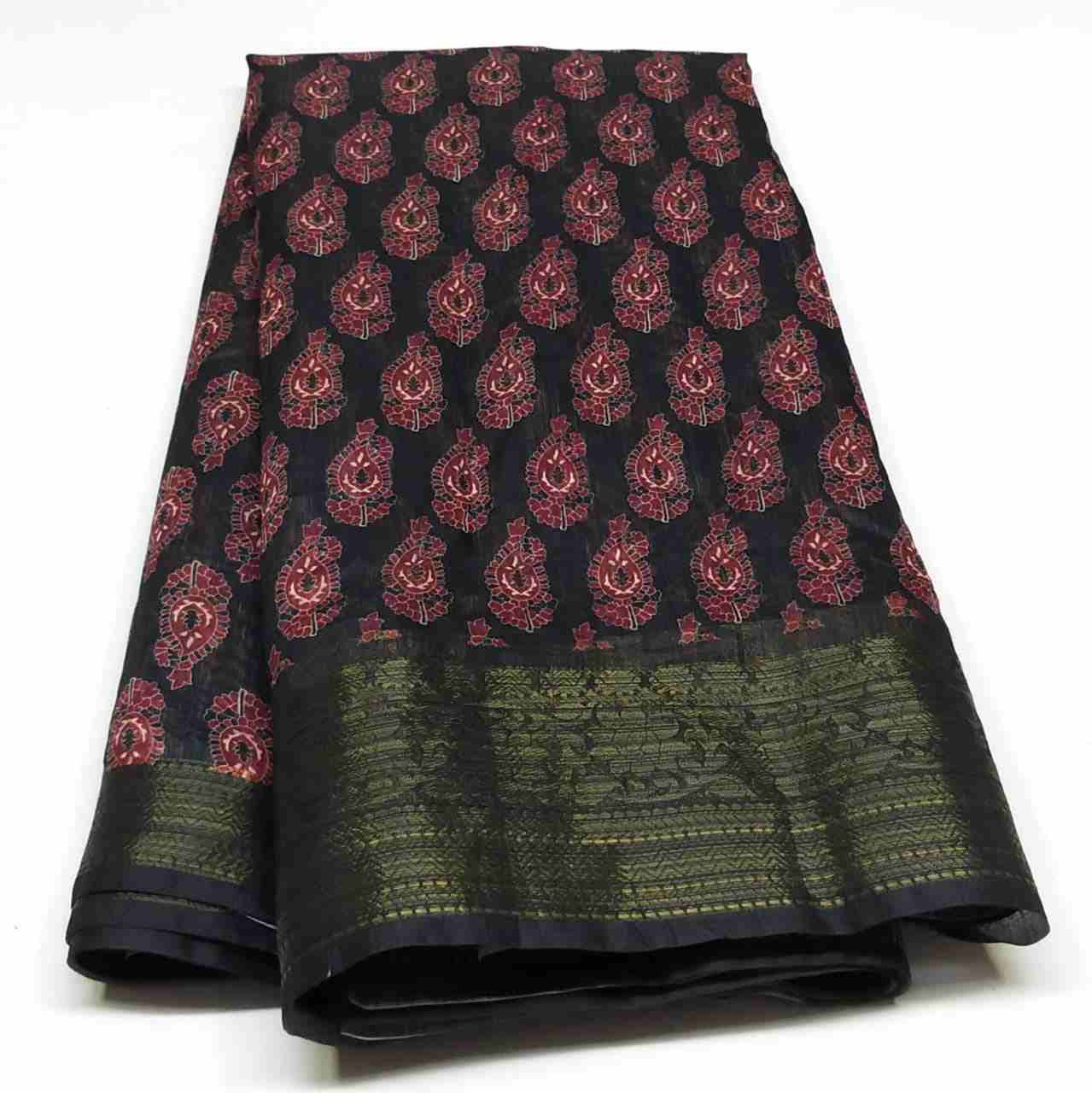 Rambha-2 Black With Red Print Cotton Saree
