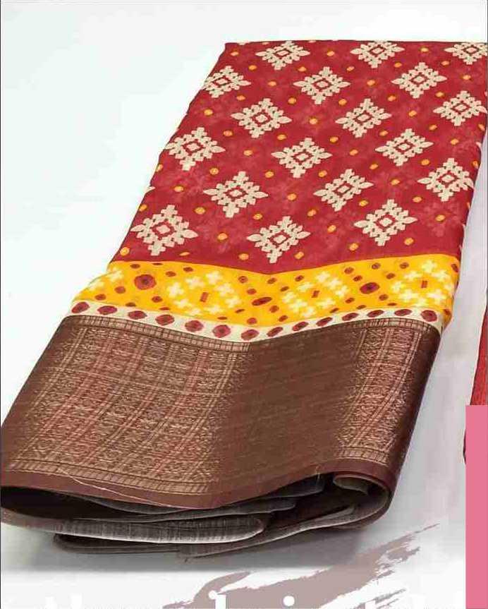 Digital Patola Red Brown Saree