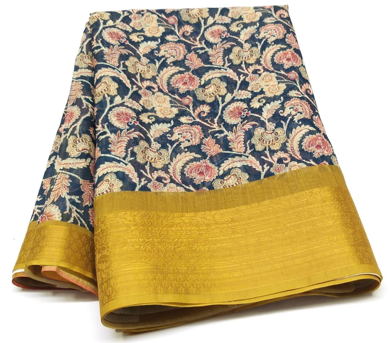 Rambha-1 Blue Cotton Saree