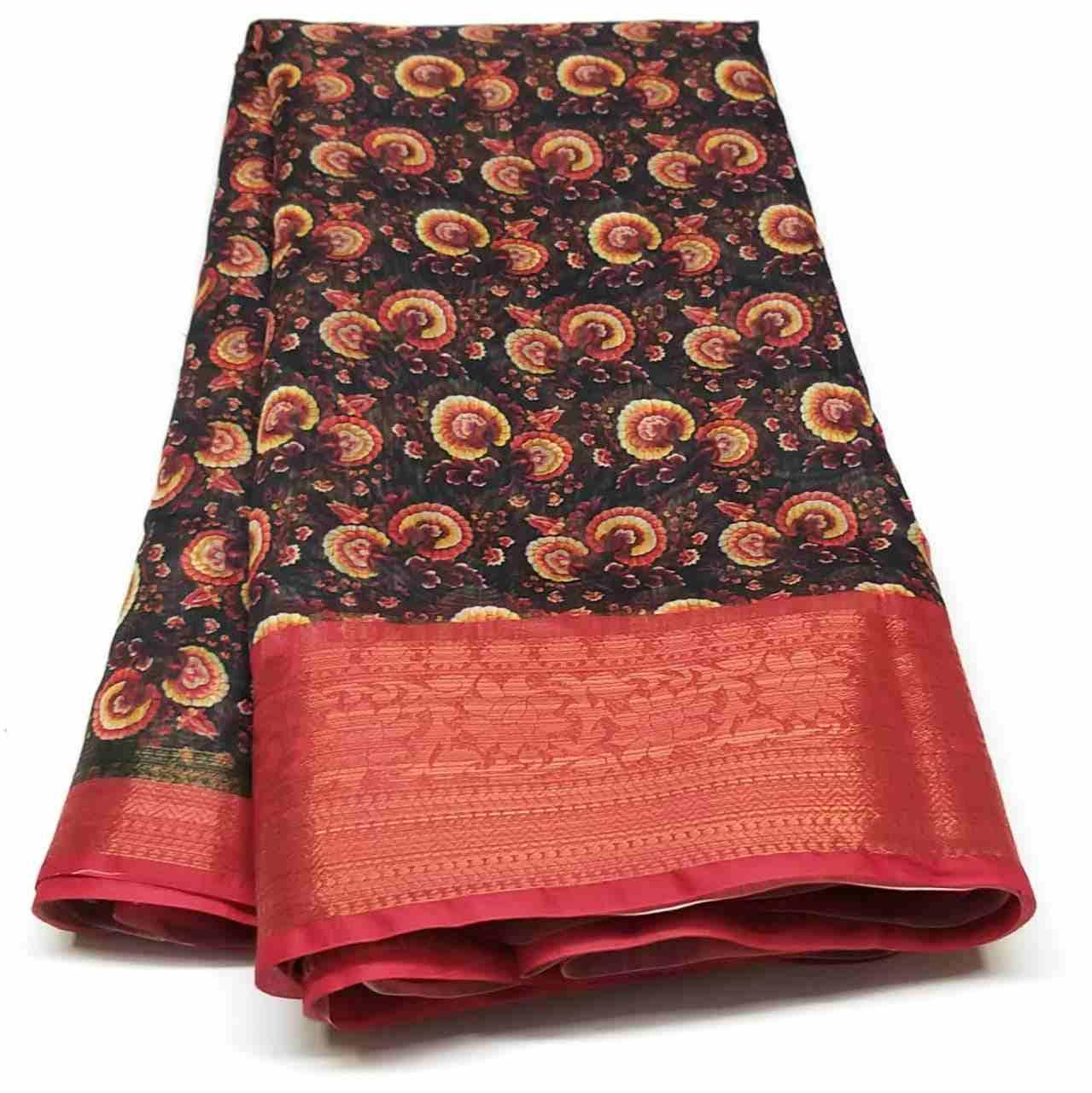 Rambha-2 Orange Cotton Saree