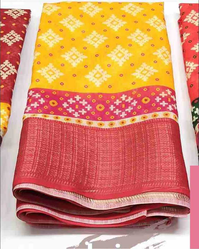 Digital Patola Yellow Pink Saree