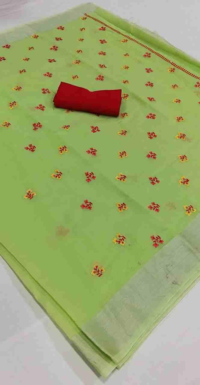 Ajrakh-4 Light Green Chanderi Saree
