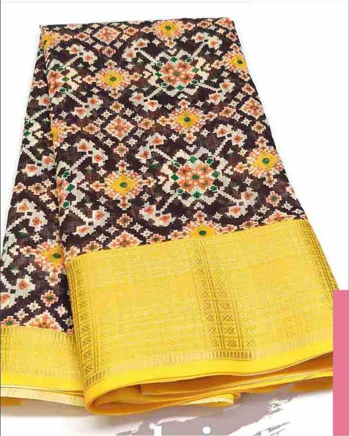 Digital Patola Yellow Saree