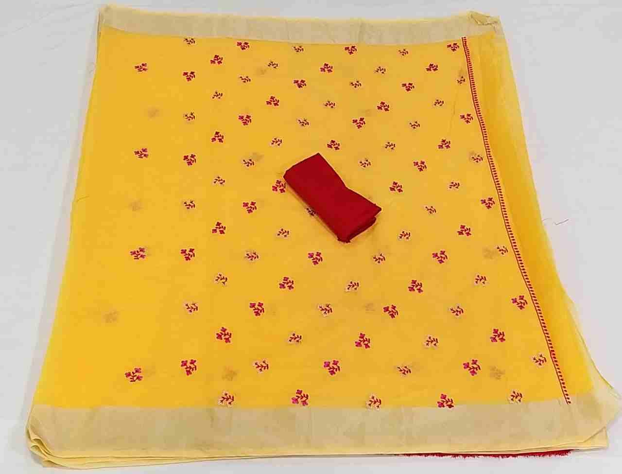 Ajrakh-4 Light Yellow Chanderi Saree