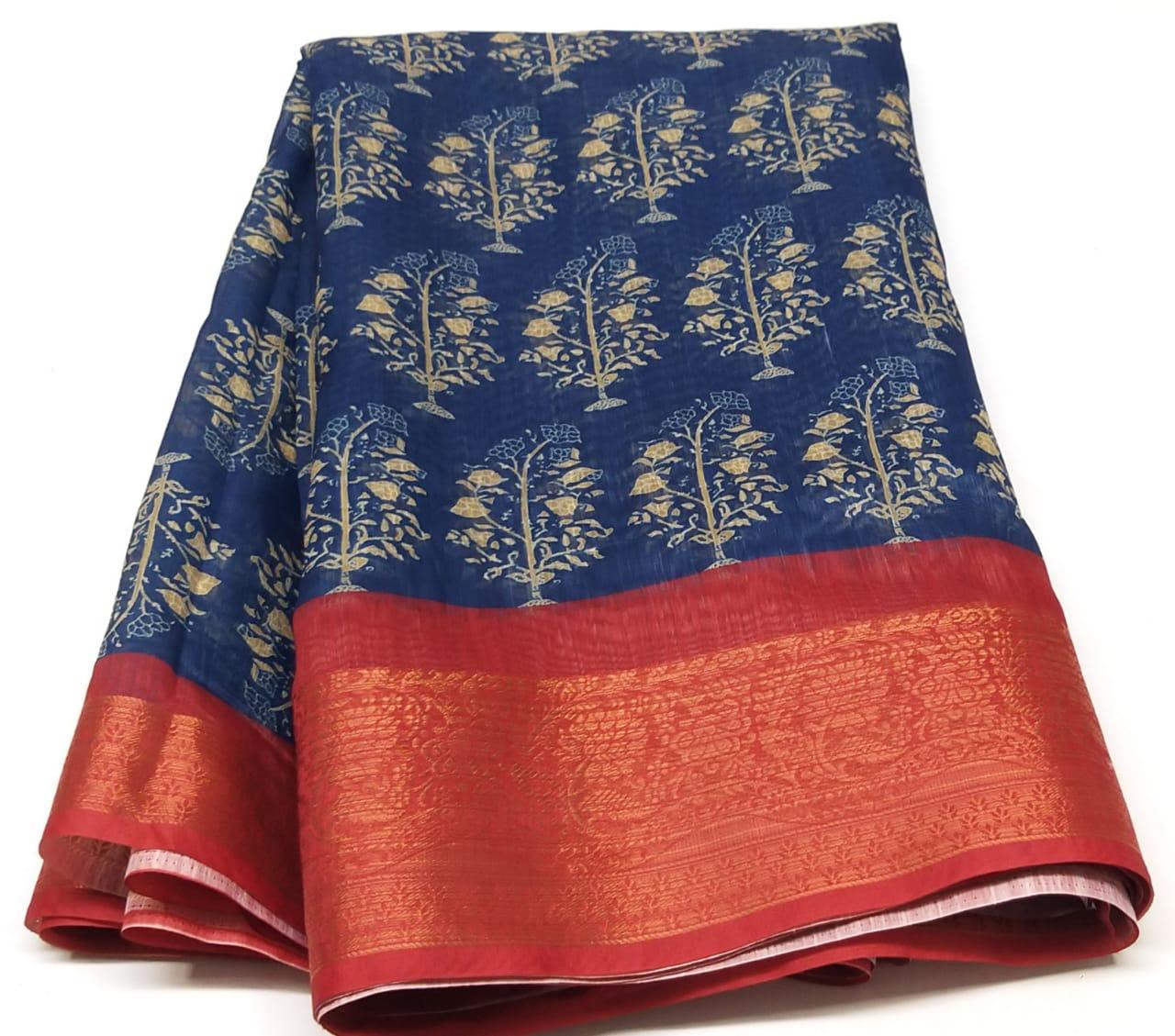Rambha-1 Dark Blue Cotton Saree