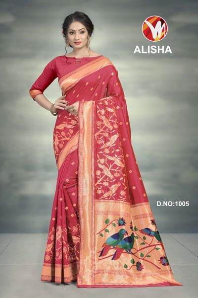 Alisha Crimson Printed Saree