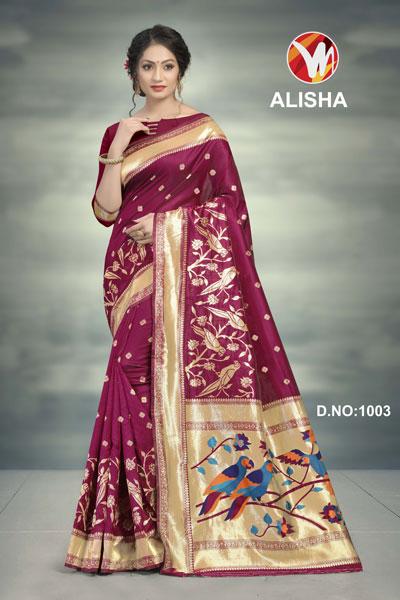 Alisha Red Violet Printed Saree