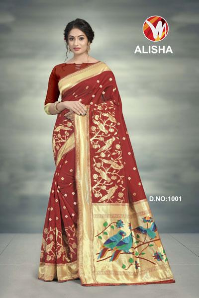 Alisha Brown Printed Saree