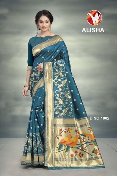 Alisha Teal Printed Saree