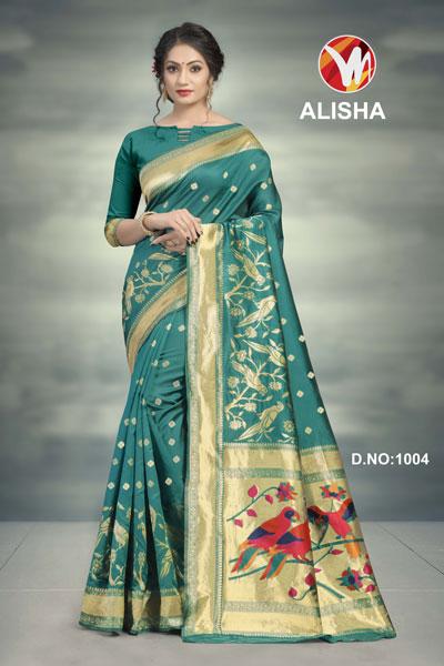 Alisha Green Printed Saree