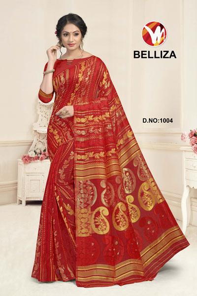 Belliza Orange Red Printed Saree