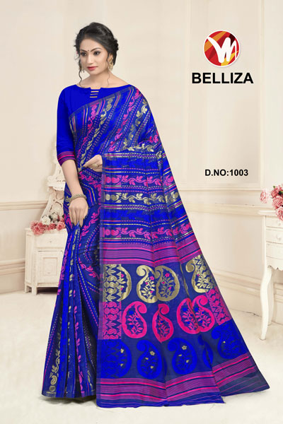 Belliza Blue Printed Saree